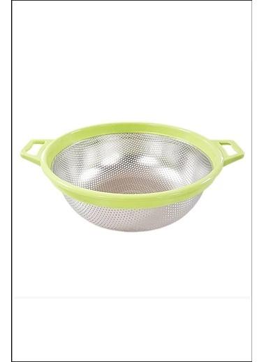 Kitchen Love Plastik Saplı Yuvarlak Çelik Süzgec-26X21X8Cm Yeşil